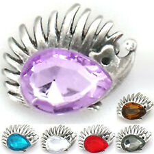Costume Jewelry Brown Black Violet Hedgehog Porcupine Hedgie Crystal Pin Brooch