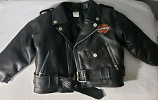 Harley Davidson Faux Leather Jacket Black Toddler Boys Size 24M Embroidered