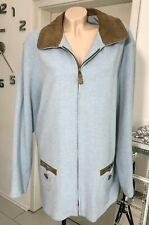 Spieth & Wensky Damen Jacke Trachtenjacke Gr. 42 Wolljacke Blau Wolle Leder