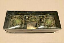 "Set of 3 Robert Stanley Green Glitter Glass Ball 3"" Christmas Ornaments in Box"