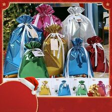 5pcs Merry Christmas Reusable Bag Storage Wrap Container Drawstring Gift Bags