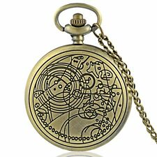 DOCTOR WHO GALLIFREYAN METAL POCKET WATCH CHARM W/NECKLACE *NEW* RARE SALE!