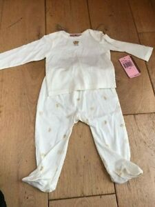 juicy couture cream gold crown top and bottoms set 3 6 months bnwt footie