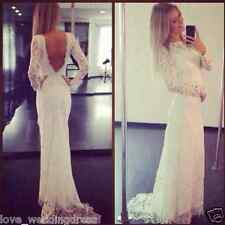 Charming Lace Mermaid Open Back Long Sleeve Bohemian Wedding Dresses Bridal Gown