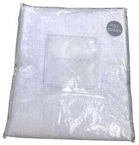 SFERRA Queen LINEA CASA White Stonewashed Matelasse Coverlet Blanket New