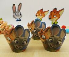 Cupcake Cup Cake Decorating,Toppers Wrappers PARTY DECORATION,Zootopia Nick Judy