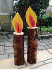 2 Kerzen aus Birkenholz, Weihnachtsdeko, Flamme bunt, eigene Herstellung
