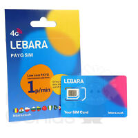 NEW Lebara Mobile Pay As You Go SIM PAYG Nano/Micro/Standard Triple Cut UK