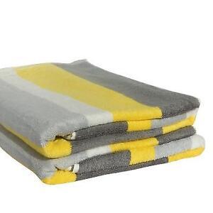 Beach Towel in Lemon, Grey & Charcoal