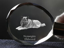 Norwegian Elkhound, Dog Crystal Round Keyring, High Quality, Crystal Animals Usa