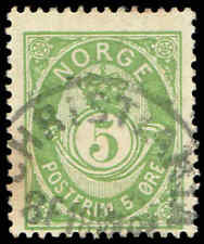 Scott # 39C - 1891 - ' Post Horn ', NORGE in Sans-Serif Caps