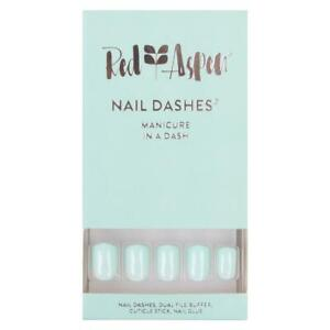 RED ASPEN Reusable Glue On Nails Short Square Shiny MINT JULEP 24 Nails