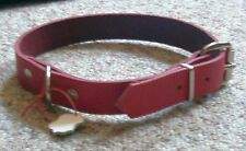 1 Hundehalsband ROT Echt Leder 60,0 cm lang x 2,5 cm mit Ring und Rollschnalle