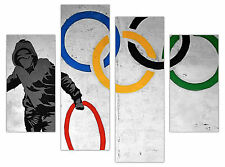 "BANKSY CANVAS PRINTS OLYMPIC RINGS WALL ART FRAMED PICTURES 4 PANEL 35"" WIDE"