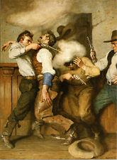 1914 N.C Wyeth, Saloon, THE GUNFIGHT, Old Western, gun PISTOL,16x11 Art Print