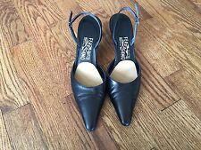 Salvatore Ferragamo Womens Black Leather Pointed Slingback Heels Shoes Sz 7 AAA