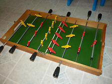 NEAT USED VINTAGE Folding TABLE TOP ACTION SOCCER Game WOODEN PLASTIC 2.6' x 2'