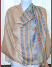 Pashmina Silk blend Shawl,Stole,Wrap Beige Paisley Elephant Design from India