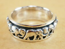 Handmade Genuine 925 Sterling Silver Spinner Rotatable Elephants Ring Size 9