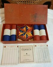 Vintage 1939 Parker Brothers Game of Contack Instructions Chips Wood Triangles