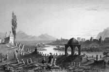 TURKEY Antioch Antakya Cemetery & City Walls - 1839 Antique Print by Bartlett