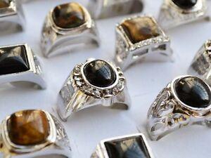 wholesale lot 12pcs Man Jewelry Tiger eye gemstone&glaze Silver Plated Ring