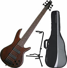 Ibanez GSR206BWNF 6-String Walnut Flat Mahogany Electric Bass w/Bag and Sta