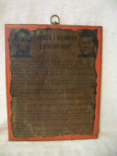 Lincoln Kennedy Coincidence? Vintage Shabby Chic Decopage Plaque