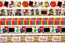 "5 yds 7/8"" Grosgrain Ribbon Mixed Lot Back To School Minnie & Mickey Printed Q2"