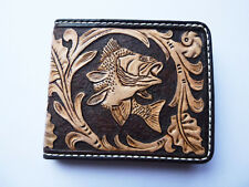 Men's 3D Genuine Leather Wallet, Hand-Carved, Hand-Painted, Fish, Your Initials