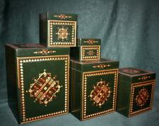 Rare Vintage Soviet Green Wooden Nesting BOXES 5 pcs Straw Inlay Matryoshka USSR