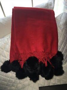 BOMBAY COMPANY 100% Red Cashmere Throw with black Rabbit Fur Pom Poms. NEW!
