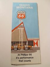 1970 PHILLIPS 66 IDAHO MONTANA Oil Gas Service Station Road Map