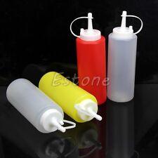 2pcs Kitchen Plastic Squeeze Dispenser Cruet Bottles For Sauces Oils Ketchup New