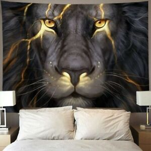 Golden Cool Lion King Tapestry Wall Hanging Home Bedroom Living Room Dorm Decor