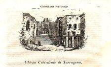 Stampa antica Veduta TARRAGONA Catalogna Spagna 1840 Grabado Antiguo Old Print