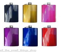7OZ COLOURED STAINLESS STEEL HIP FLASK BLACK BLUE GOLD PINK PURPLE RED METALLIC