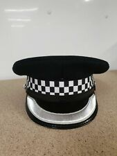 More details for black flat peaked cap with silver braided band fancy dress theatre film and tv