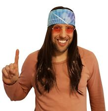 Hippie brown hair wig with blue lights 60's 70's bandana