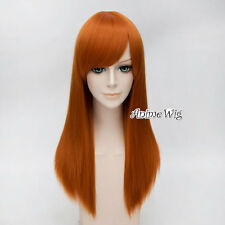 Long Orange Straight Hair 55CM Fashion Lady Party Basic Anime Cosplay Wig