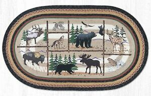 Cabin Lodge Braided Oval Capitol Earth Jute Rug Cabin Lodge Animals OP-583