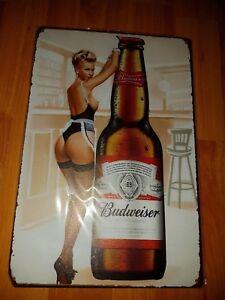 Budweiser Girl With Bottle Metal Sign Plaque Man Cave Beer Retro Pub Bar Garage