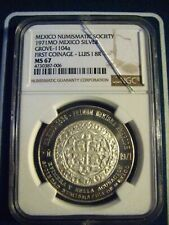 MEXICO MINT 1971 SILVER MEDAL NGC MS 67 GROVE -1104a FIST COINAGE-LUIS 1 8R