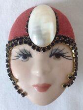 Flapper Girl Brooch Pin Porcelain Head Face Suede Hat w Black Rhinestones Pearl