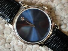 NEW/NWT STAINLESS STEEL BLUE FACE 2100009 CLASSIC MOVADO MUSEUM WATCH + BONUS