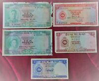 Central Bank Of CEYLON. 2 x 10  Rupee and 5  Rupee 2  Rupee 1 Rupee Banknotes