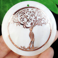 50x3mm Natural Brown White Shell Tree of life Round Pendant Bead  YJ2bk