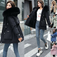 Women Big Fur Collar Coat Winter Warm Outwear Long Parka Hooded Quilted Jacket