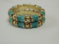 Vintage Stackable Band with Turquoise Color Enamel on 14K Yellow Gold by MARTINE