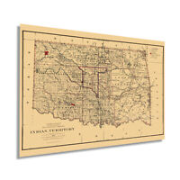 HISTORIX Vintage 1887 Indian Territory Oklahoma Map